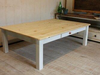 1ドロワ ホワイトシャビーなローテーブル120の画像