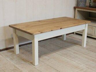 ソファテーブル90 アンティークホワイト シャビー ローテーブルの画像