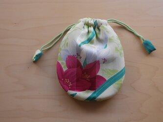 ふんわり手縫い巾着  着物地 中綿入 ☆送料無料【311】の画像