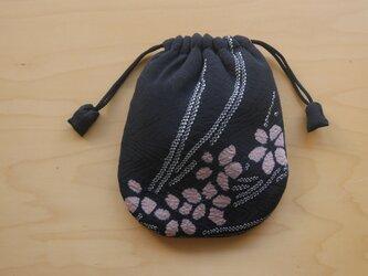 ふんわり手縫い巾着  着物地 中綿入 ☆送料無料【314】の画像