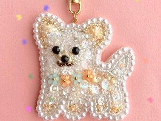 ビーズ刺繍♡チワワのキーホルダーの画像
