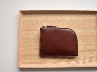 きちんと仕分けてコンパクトなお財布  イタリアンレザー 総手縫いの画像