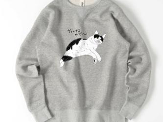 白黒ネコ ヴィーナスみーこ 猫 デブ猫 スウェット イラスト トレーナー メンズ レディース ゆるかわの画像