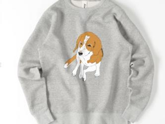 I am beagle ビーグル 犬 スウェット イラスト トレーナー メンズ レディース おすわり ゆるかわの画像