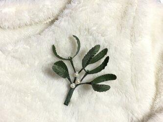 宿り木のブローチA オリーブレザーの画像