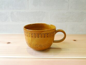 スープカップ エンボスドット キャラメルブラウンの画像