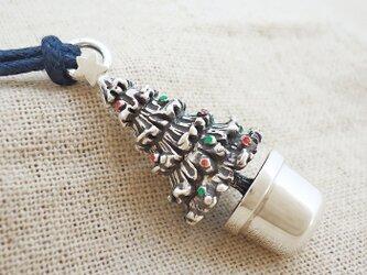 銀製の鈴『クリスマスツリー』(シルバー925+レジン)バッグチャームの画像
