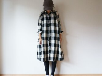 Wool linen cotton one piece LADY'S OFF×BLACKの画像