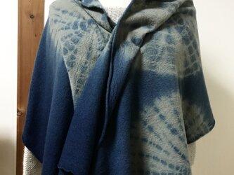圧縮ウール100%藍絞り染マフラーの画像