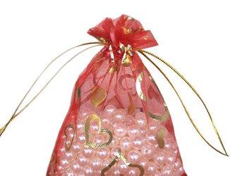 10枚入り オーガンジー巾着袋 ハート 【レッド 赤】 アクセサリーバック ラッピング プレゼントの画像