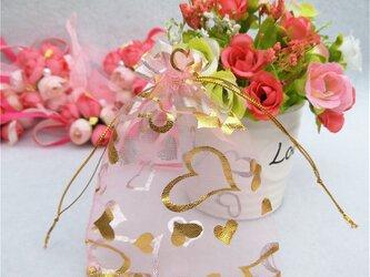 10枚入り オーガンジー巾着袋 ハート 【ピンク 桃色】 アクセサリーバック ラッピング プレゼントの画像