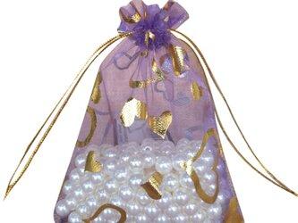 10枚入り オーガンジー巾着袋 ハート 【バイオレット 紫 パープル】 アクセサリーバック ラッピング プレゼントの画像