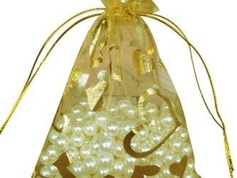 10枚入り オーガンジー巾着袋 ハート 【ゴールド 金 イエロー 黄色】 アクセサリーバック ラッピング プレゼントの画像