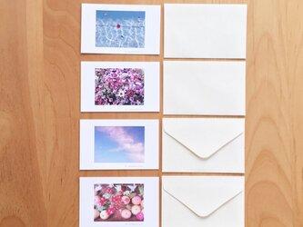 《送料無料》花や空のメッセージカード 封筒のセット 4枚の画像