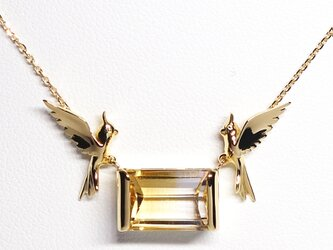 つがいのオカメインコ飛翔K18ネックレス【Pio by Parakee】Cockatiel pair nechlaceの画像