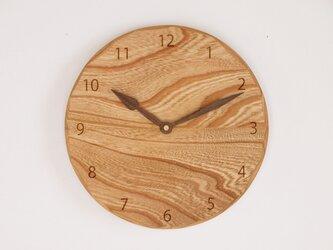 木製 掛け時計 丸 ケヤキ材42の画像