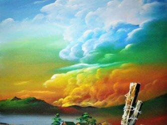 燃える積乱雲の画像