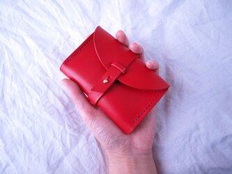 ヌメ革 カードケース 赤の画像