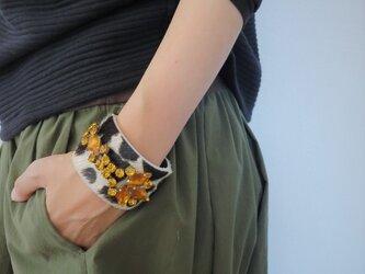 ハラコレザー カフブレスレット hair on leather cuff bracelet <LC-HBR2>の画像