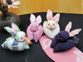 ★うさぎクリップ ★ウサギメッセージバサミ ★カーテンばさみ ★ちりめん細工 ★着物地 ★可愛い動物 の画像