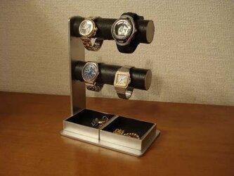 クリスマスに間に合います! 丸パイプ2段でかいトレイ4〜6本掛けブラック腕時計スタンドの画像