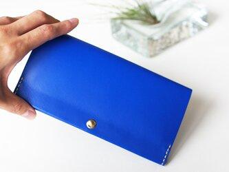 スマート長財布 ラピスラズリブルー(イタリア牛革・メンテナンスフリー) 自然とお財布美人になれる薄い長財布!の画像