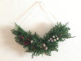 変形クリスマスお正月スワッグ(水引付き)の画像