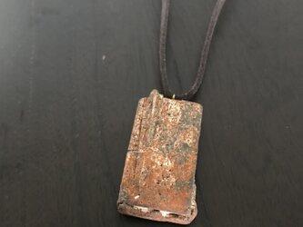 焼締「block」の革紐チョーカーの画像