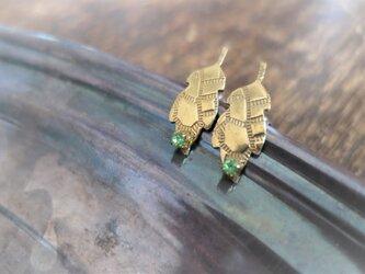 アンティーク タイニーリーフピアス ペリドット pierced earrings leaf <PE-LF2>の画像
