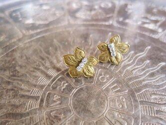 アンティーク メイプルリーフピアス クリア pierced earrings <PE-LF3>の画像