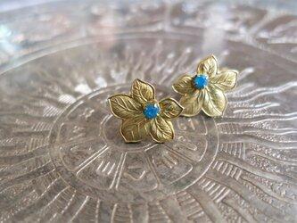 アンティーク メイプルリーフピアス ブルー pierced earrings <PE-LF4>の画像