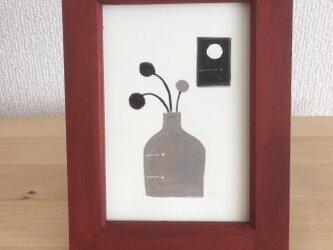 モノクロの小さな原画 (#花瓶と月)の画像