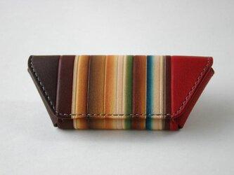 手染め手縫い革のコインケース マルチカラー赤の画像