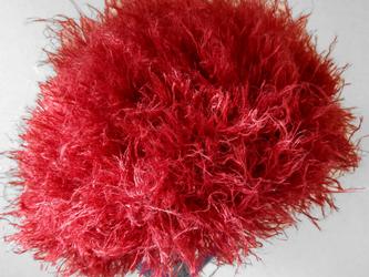 手編み帽子 赤もけもけの画像