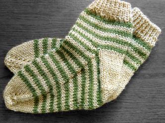 手編み靴下:シマシマ(みどりときいろ)の画像