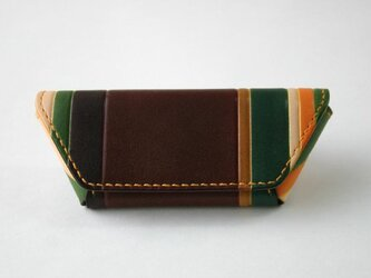手染め手縫い革のコインケース マルチカラー茶の画像