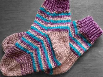 手編み靴下:マルチシマシマの画像