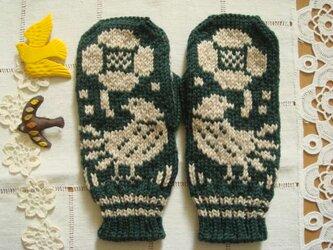 花と鳥のミトン~グリーン~Flower and bardの画像
