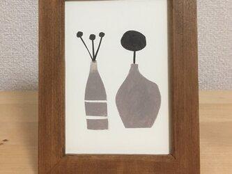 モノクロの小さな原画 (#2つの花瓶)の画像