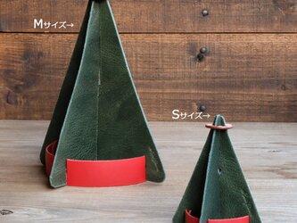 革のクリスマスツリー Mサイズ:イタリア産ベジタブルタンニンレザー・トコ革の画像