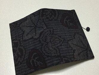 ★再販★    1129    着物リメイク    文庫サイズブックカバー    十日町紬    蔦の葉に楓模様の画像