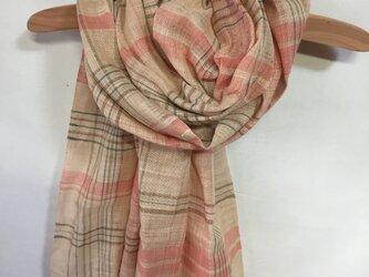 手紡ぎ糸・草木染めのストール M25-①の画像