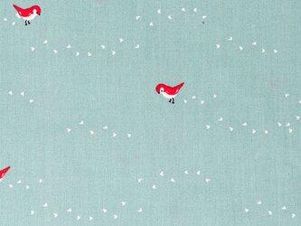 Birch プリントカットクロス Whistle-ティニーステップス ブルー 小鳥 オーガニックコットンファブリックの画像