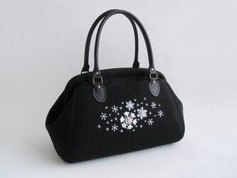 雪の結晶*ビーズ刺繍のボストンバッグ(18i-1)の画像