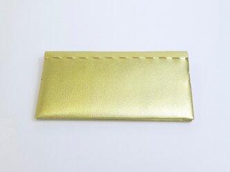 薄型二つ折り長財布 ゴールド 革製 組み立て の画像