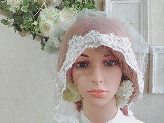 チュールレースの綿帽子(洋髪用) 〜luciole〜無地(basic)の画像