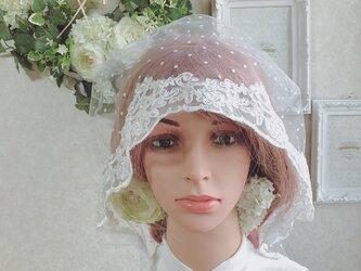 チュールレースの綿帽子(洋髪用) 〜senna〜水玉(dot)の画像