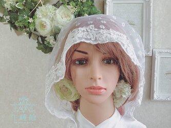 チュールレースの綿帽子(洋髪用) 〜outlet〜小花(outlet)の画像