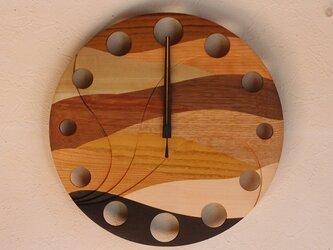 無垢の木の電波掛け時計 ウェーブ 0014の画像
