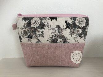 花柄ブーケと猫のポーチ*ピンクの画像